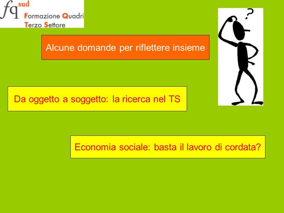 Alcune domande per riflettere insieme Da oggetto a soggetto: la ricerca nel TS Economia sociale: basta il lavoro di cordata