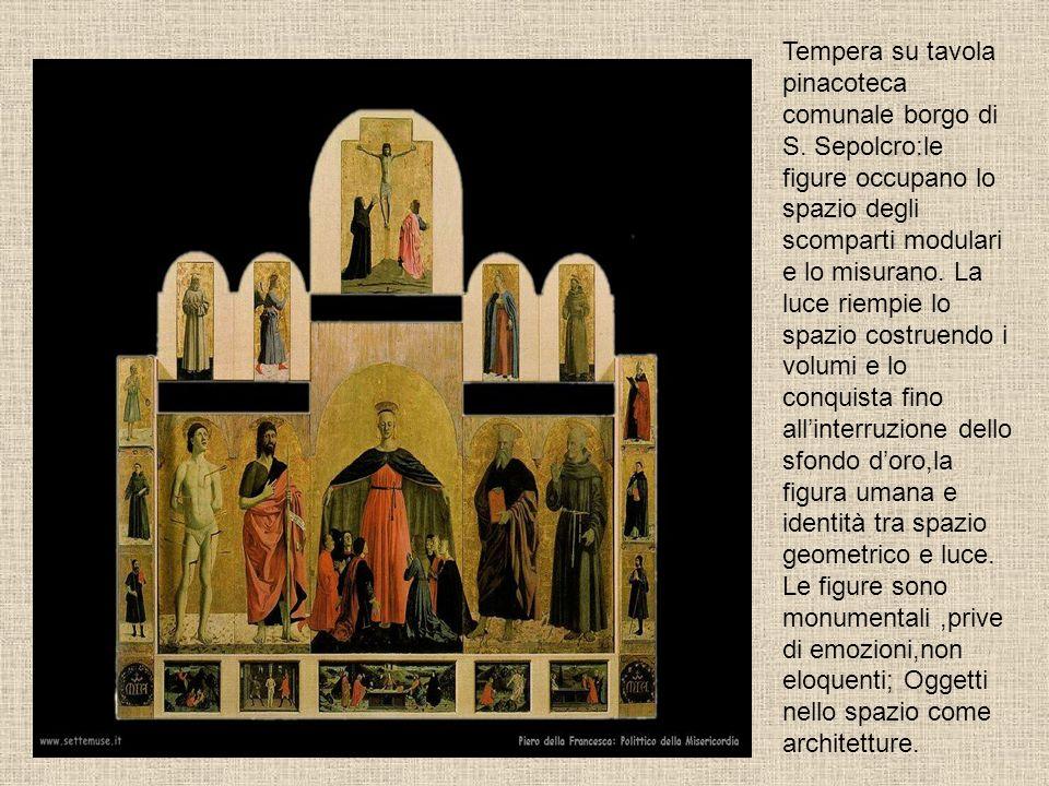 Tempera su tavola pinacoteca comunale borgo di S. Sepolcro:le figure occupano lo spazio degli scomparti modulari e lo misurano. La luce riempie lo spa