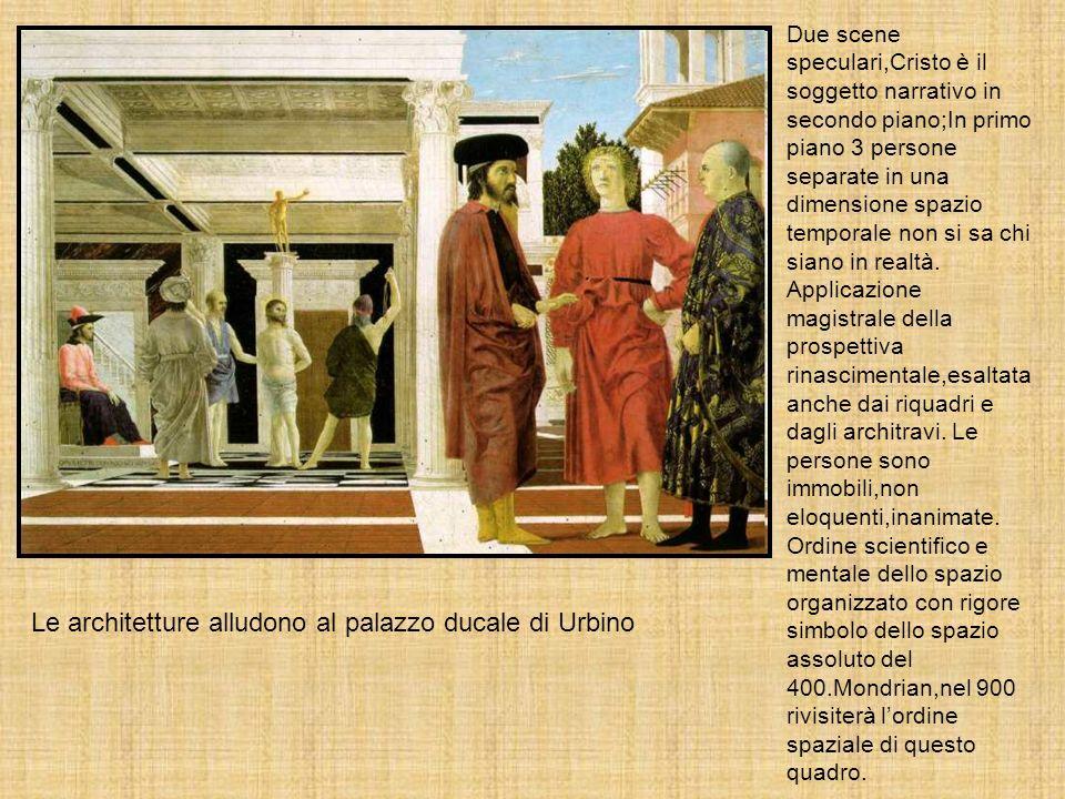 Due scene speculari,Cristo è il soggetto narrativo in secondo piano;In primo piano 3 persone separate in una dimensione spazio temporale non si sa chi