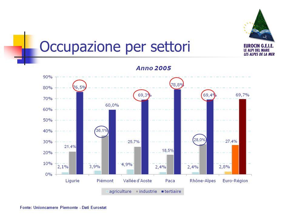 Occupazione per settori Anno 2005 Fonte: Unioncamere Piemonte - Dati Eurostat