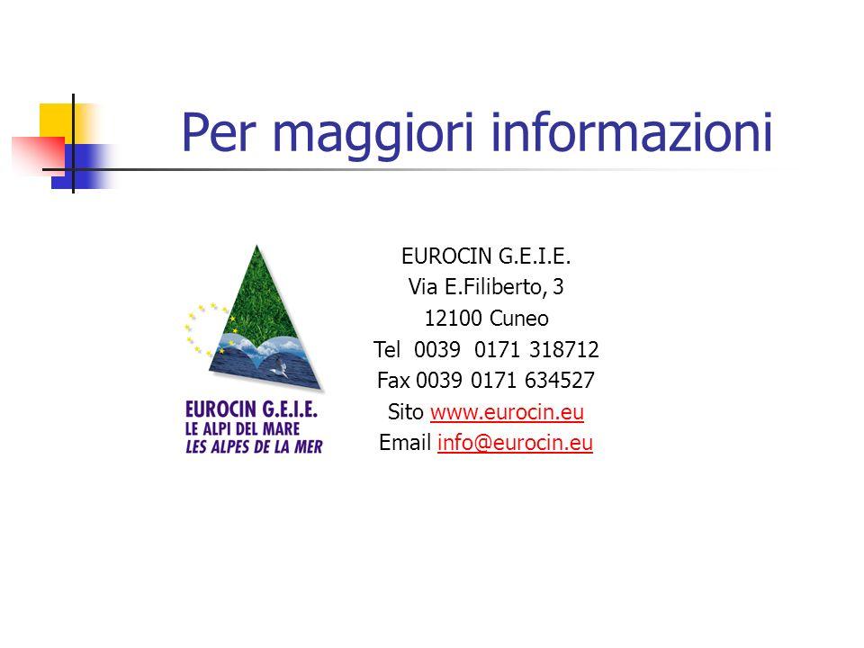 Per maggiori informazioni EUROCIN G.E.I.E.