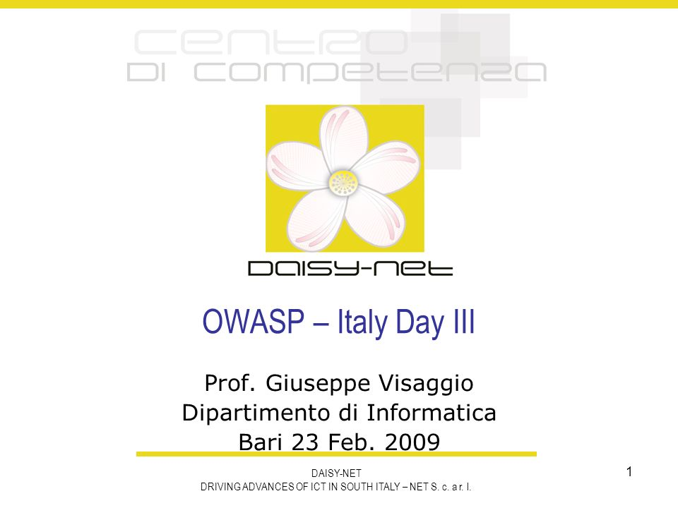 OWASP-Italy Day III 2 Motivazione della S.E.