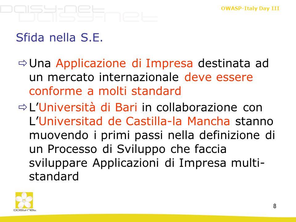 OWASP-Italy Day III 8 Sfida nella S.E. Una Applicazione di Impresa destinata ad un mercato internazionale deve essere conforme a molti standard LUnive