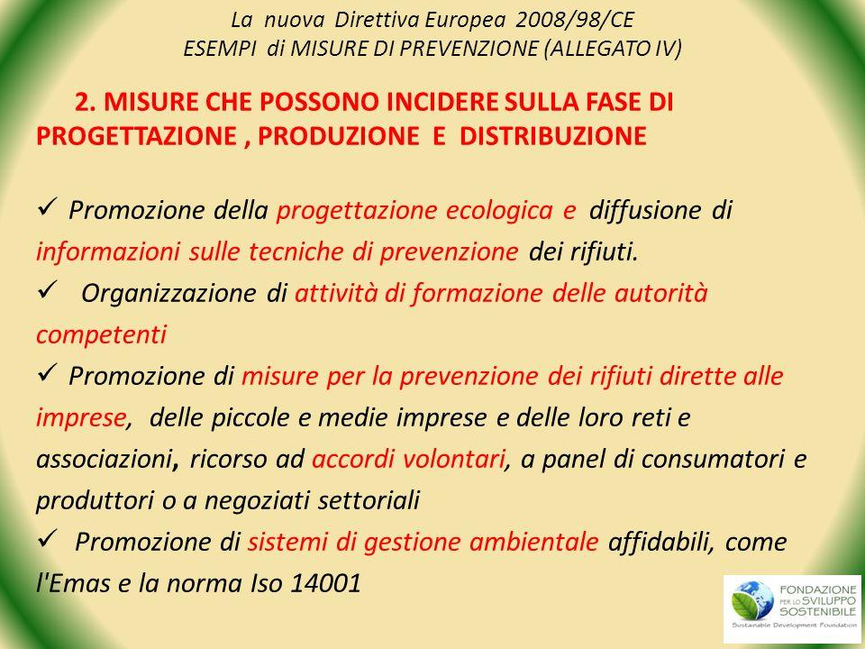 La nuova Direttiva Europea 2008/98/CE ESEMPI di MISURE DI PREVENZIONE (ALLEGATO IV) 2. MISURE CHE POSSONO INCIDERE SULLA FASE DI PROGETTAZIONE, PRODUZ