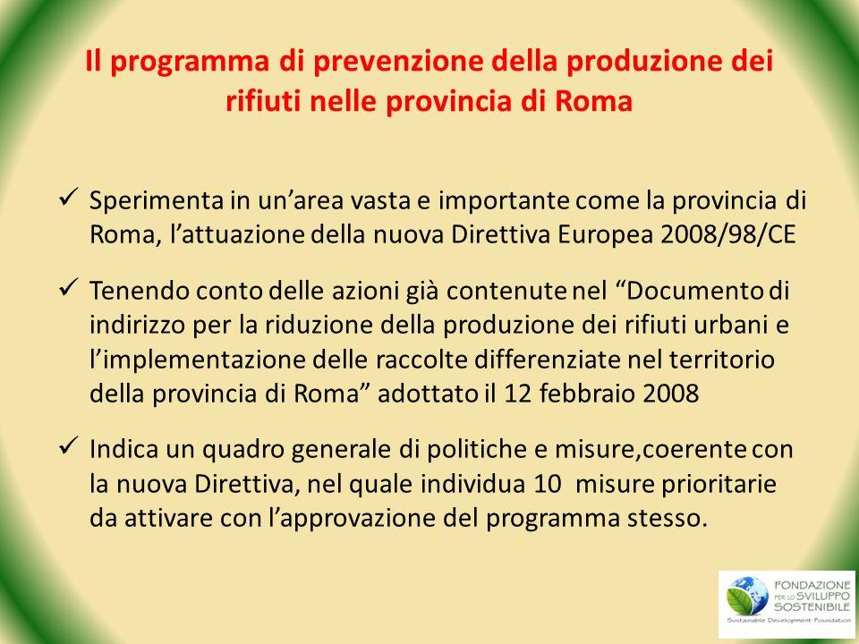 Il programma di prevenzione della produzione dei rifiuti nelle provincia di Roma Sperimenta in unarea vasta e importante come la provincia di Roma, la