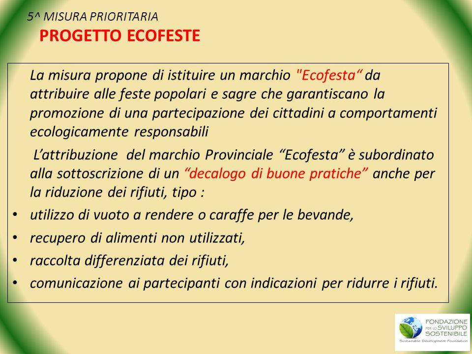 5^ MISURA PRIORITARIA PROGETTO ECOFESTE La misura propone di istituire un marchio