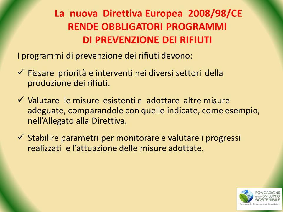La nuova Direttiva Europea 2008/98/CE RENDE OBBLIGATORI PROGRAMMI DI PREVENZIONE DEI RIFIUTI I programmi di prevenzione dei rifiuti devono: Fissare pr