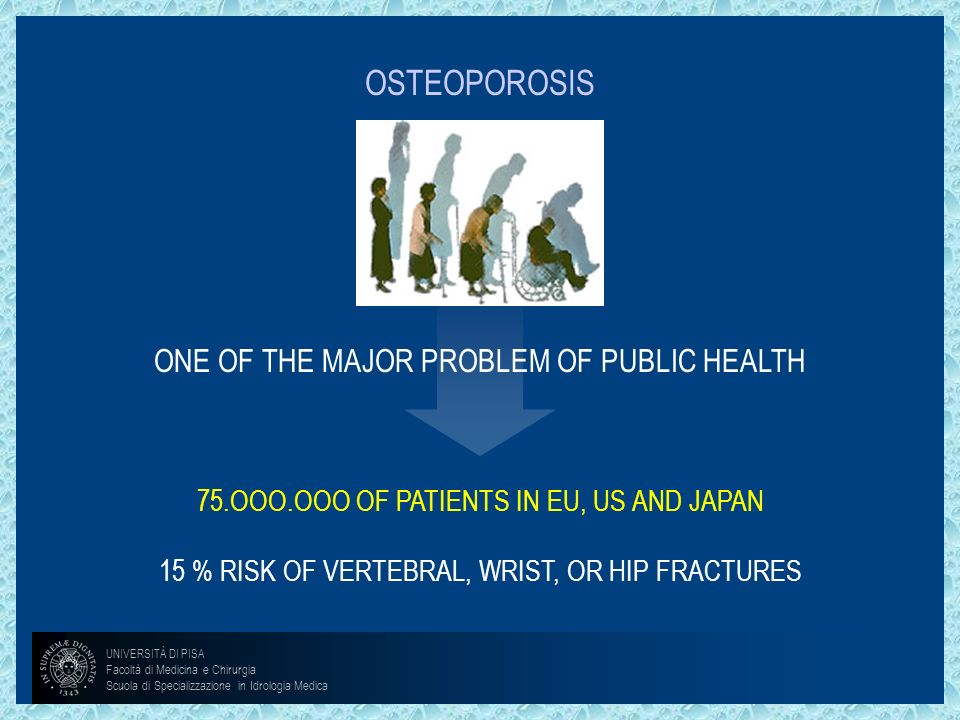 OSTEOPOROSIS ONE OF THE MAJOR PROBLEM OF PUBLIC HEALTH 75.OOO.OOO OF PATIENTS IN EU, US AND JAPAN 15 % RISK OF VERTEBRAL, WRIST, OR HIP FRACTURES UNIV