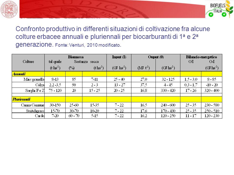 Confronto produttivo in differenti situazioni di coltivazione fra alcune colture erbacee annuali e pluriennali per biocarburanti di 1 a e 2 a generazi