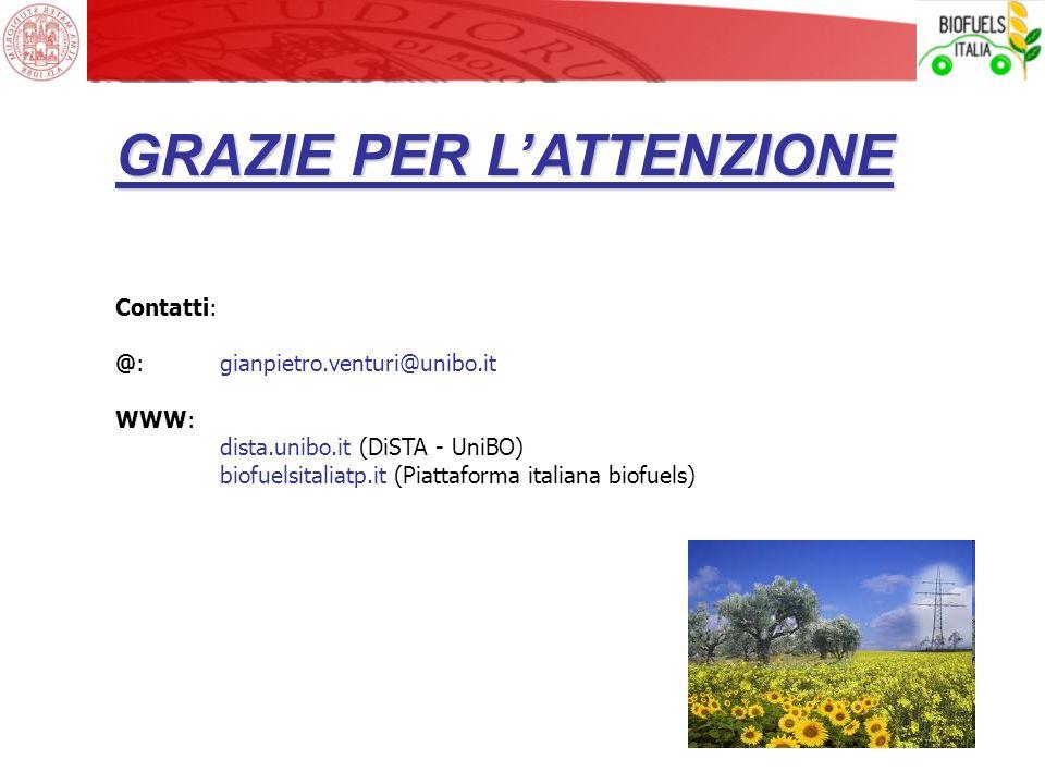 GRAZIE PER LATTENZIONE Contatti: @: gianpietro.venturi@unibo.it WWW: dista.unibo.it (DiSTA - UniBO) biofuelsitaliatp.it (Piattaforma italiana biofuels