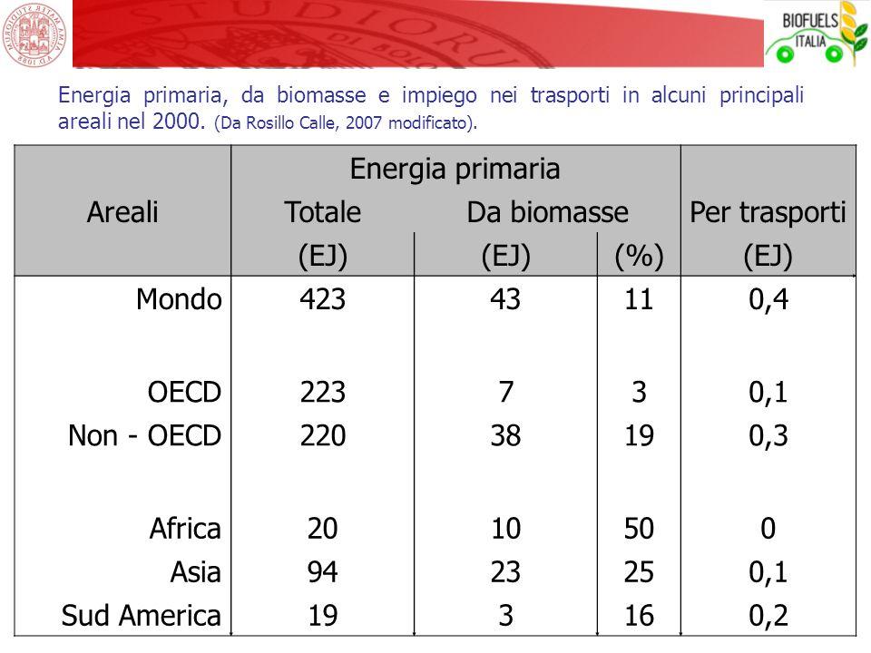 Energia primaria, da biomasse e impiego nei trasporti in alcuni principali areali nel 2000. (Da Rosillo Calle, 2007 modificato). Energia primaria Area