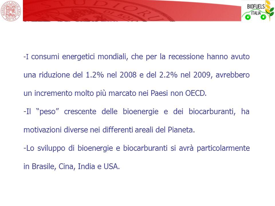 -I consumi energetici mondiali, che per la recessione hanno avuto una riduzione del 1.2% nel 2008 e del 2.2% nel 2009, avrebbero un incremento molto p