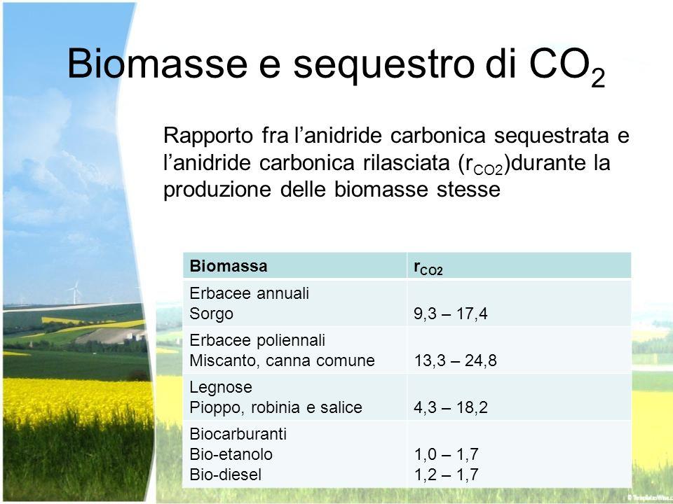 Biomasse e sequestro di CO 2 Rapporto fra lanidride carbonica sequestrata e lanidride carbonica rilasciata (r CO2 )durante la produzione delle biomass