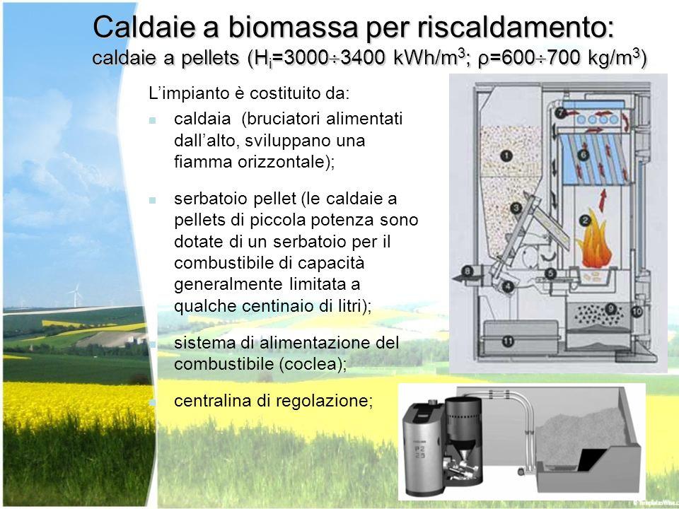 Caldaie a biomassa per riscaldamento: caldaie a pellets (H i =3000 3400 kWh/m 3 ; ρ=600 700 kg/m 3 ) Limpianto è costituito da: caldaia (bruciatori al