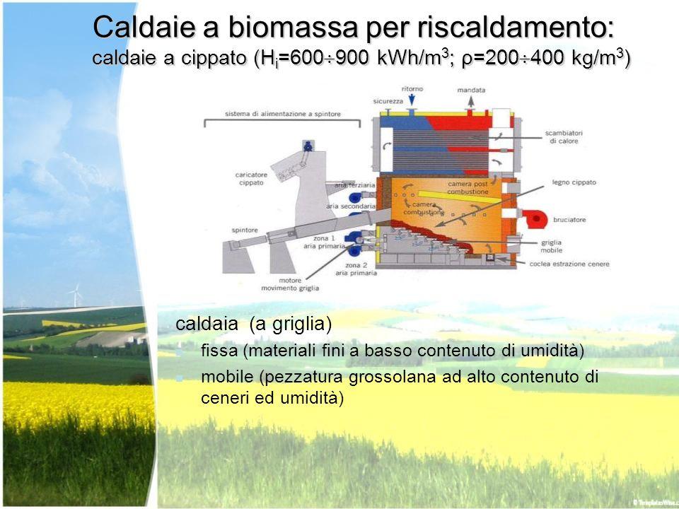 Caldaie a biomassa per riscaldamento: caldaie a cippato (H i =600 900 kWh/m 3 ; ρ=200 400 kg/m 3 ) caldaia (a griglia) fissa (materiali fini a basso c