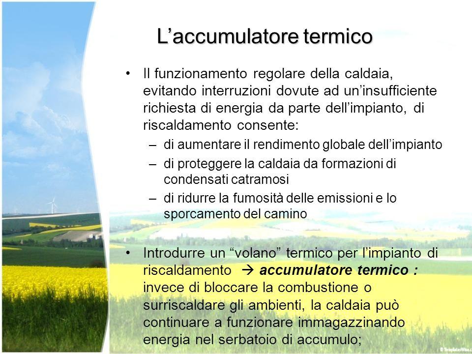 Laccumulatore termico Il funzionamento regolare della caldaia, evitando interruzioni dovute ad uninsufficiente richiesta di energia da parte dellimpia