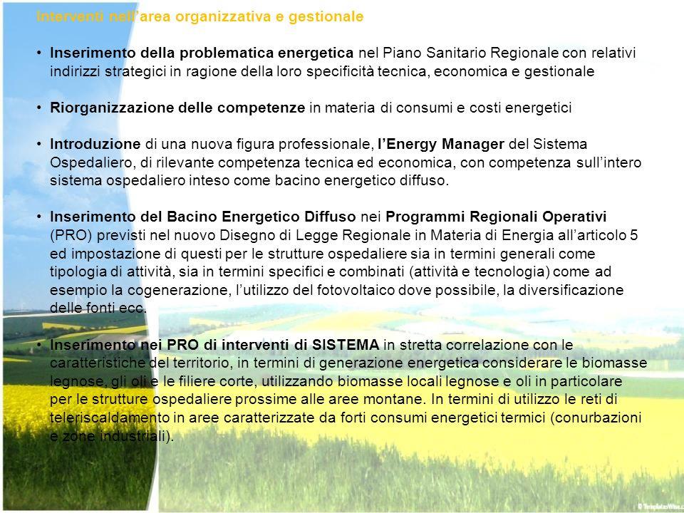 Interventi nellarea organizzativa e gestionale Inserimento della problematica energetica nel Piano Sanitario Regionale con relativi indirizzi strategi