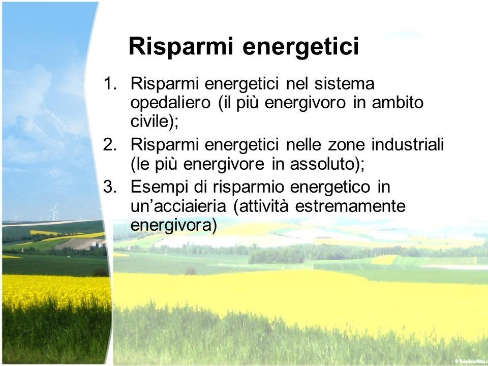 Risparmi energetici 1.Risparmi energetici nel sistema opedaliero (il più energivoro in ambito civile); 2.Risparmi energetici nelle zone industriali (l