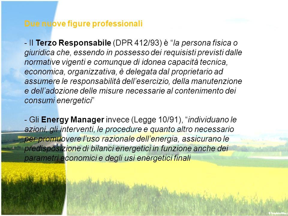 Due nuove figure professionali - Il Terzo Responsabile (DPR 412/93) è la persona fisica o giuridica che, essendo in possesso dei requisisti previsti d
