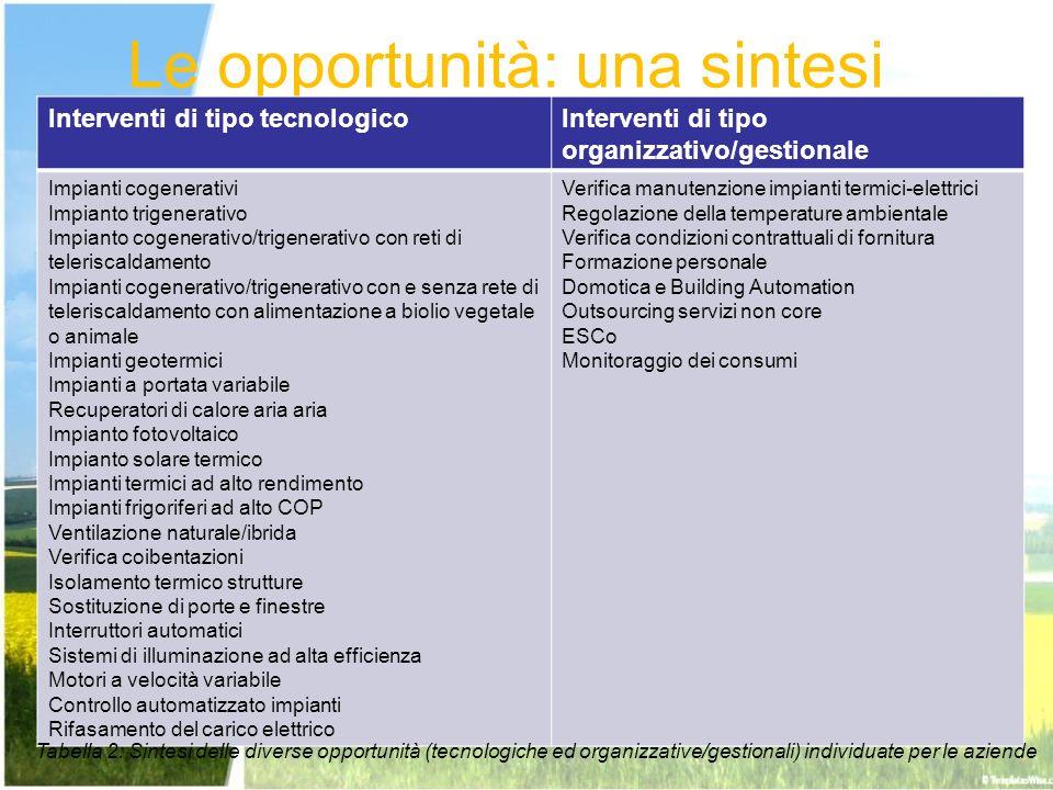 Le opportunità: una sintesi Interventi di tipo tecnologicoInterventi di tipo organizzativo/gestionale Impianti cogenerativi Impianto trigenerativo Imp