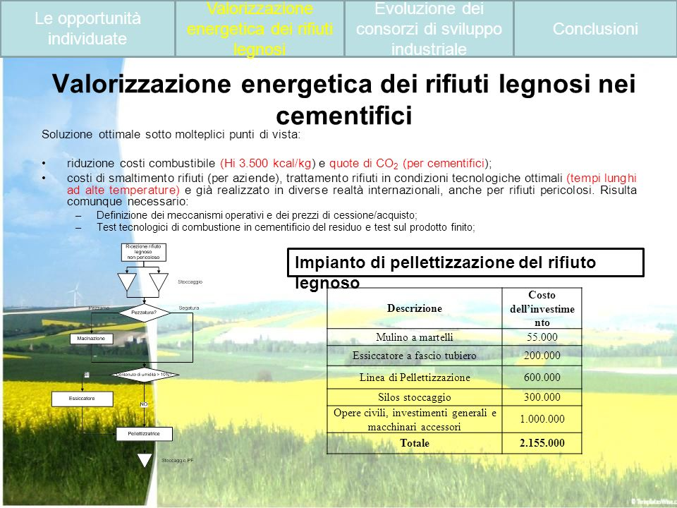 Valorizzazione energetica dei rifiuti legnosi nei cementifici Soluzione ottimale sotto molteplici punti di vista: riduzione costi combustibile (Hi 3.5
