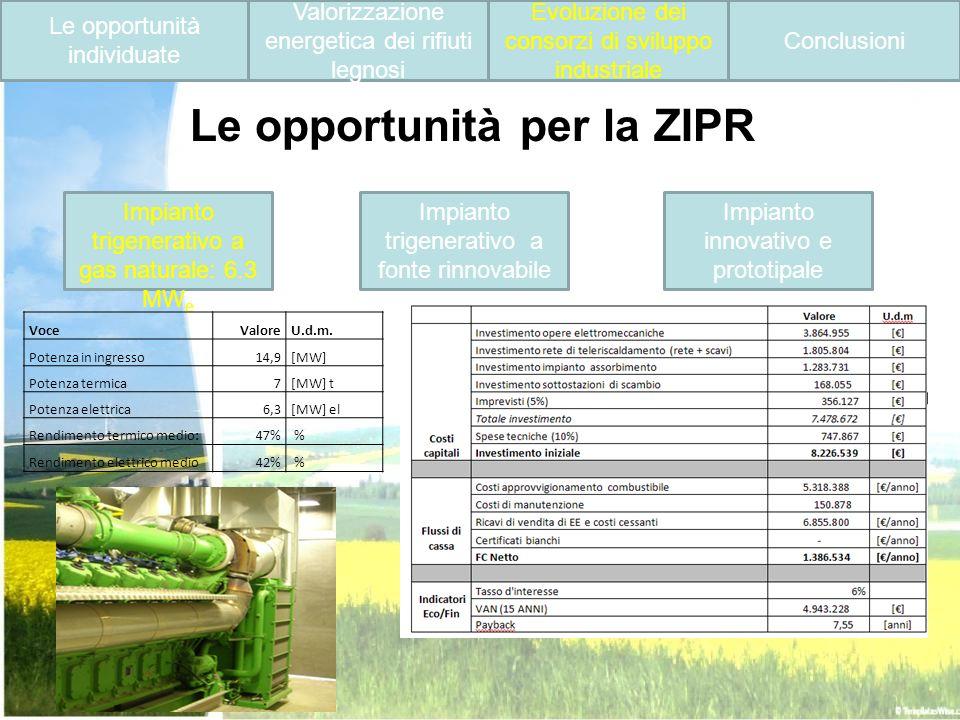 Impianto trigenerativo a gas naturale: 6.3 MW e Impianto trigenerativo a fonte rinnovabile Impianto innovativo e prototipale Le opportunità individuat