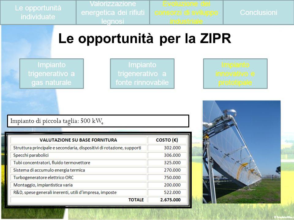 Le opportunità individuate Valorizzazione energetica dei rifiuti legnosi Evoluzione dei consorzi di sviluppo industriale Conclusioni Impianto trigener