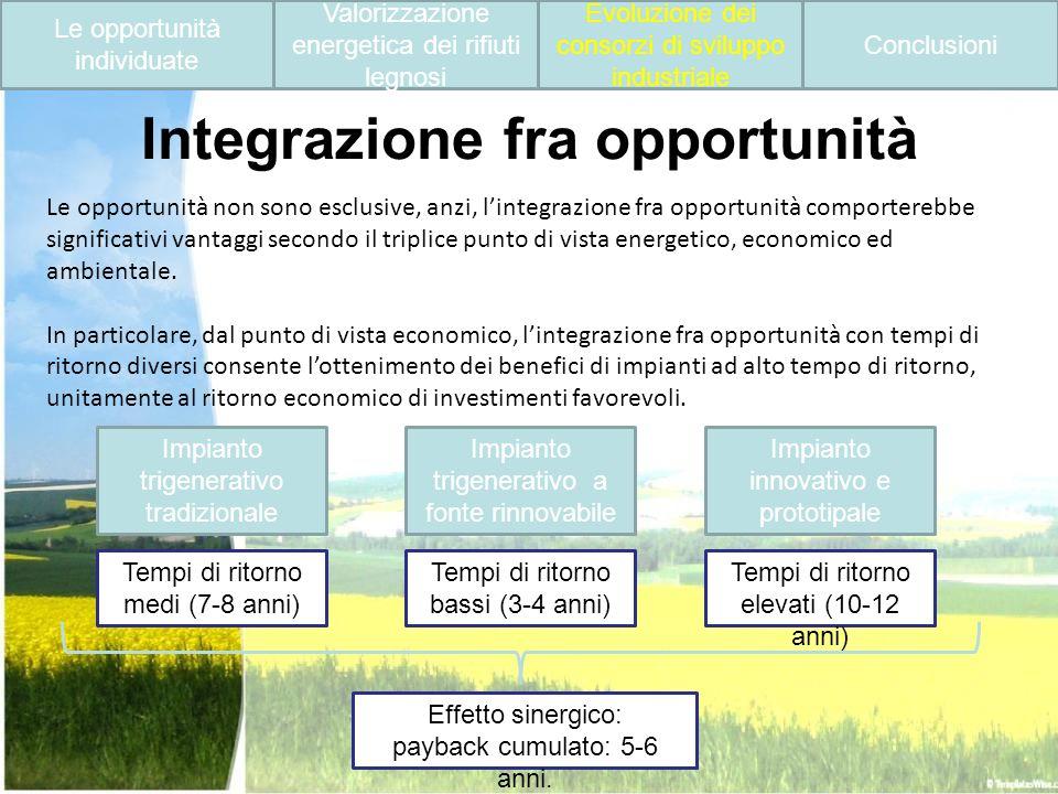 Integrazione fra opportunità Le opportunità non sono esclusive, anzi, lintegrazione fra opportunità comporterebbe significativi vantaggi secondo il tr