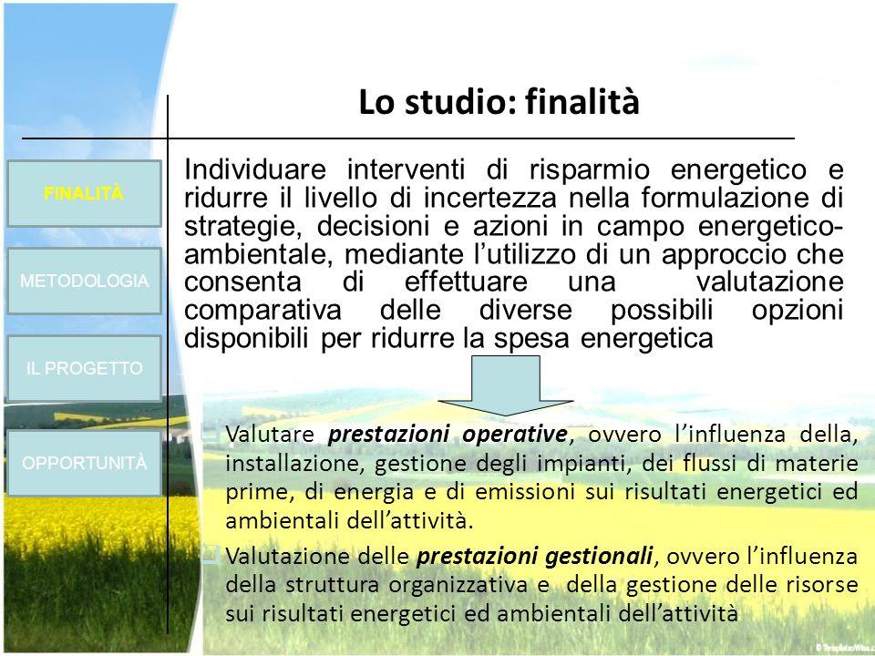 Individuare interventi di risparmio energetico e ridurre il livello di incertezza nella formulazione di strategie, decisioni e azioni in campo energet