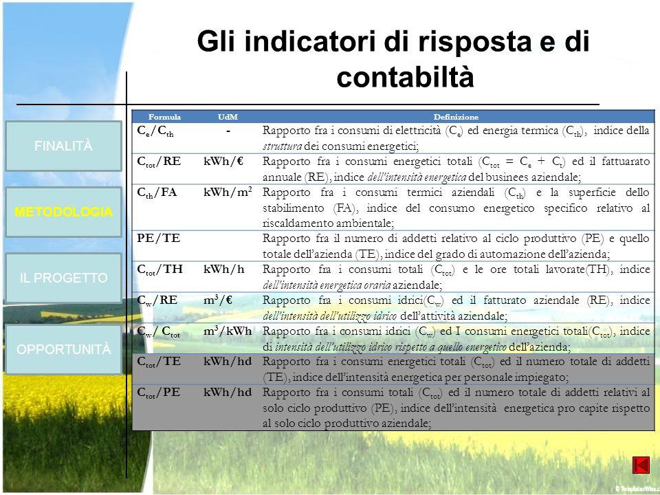 Gli indicatori di risposta e di contabiltà FormulaUdMDefinizione C e /C th -Rapporto fra i consumi di elettricità (C e ) ed energia termica (C th ), i