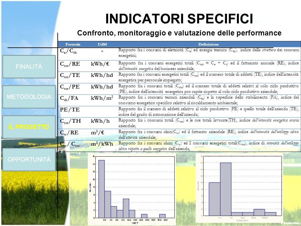 INDICATORI SPECIFICI Confronto, monitoraggio e valutazione delle performance FormulaUdMDefinizione C e /C th - Rapporto fra i consumi di elettricità (