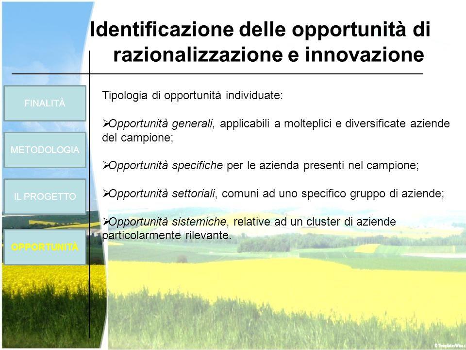 Identificazione delle opportunità di razionalizzazione e innovazione Tipologia di opportunità individuate: Opportunità generali, applicabili a moltepl