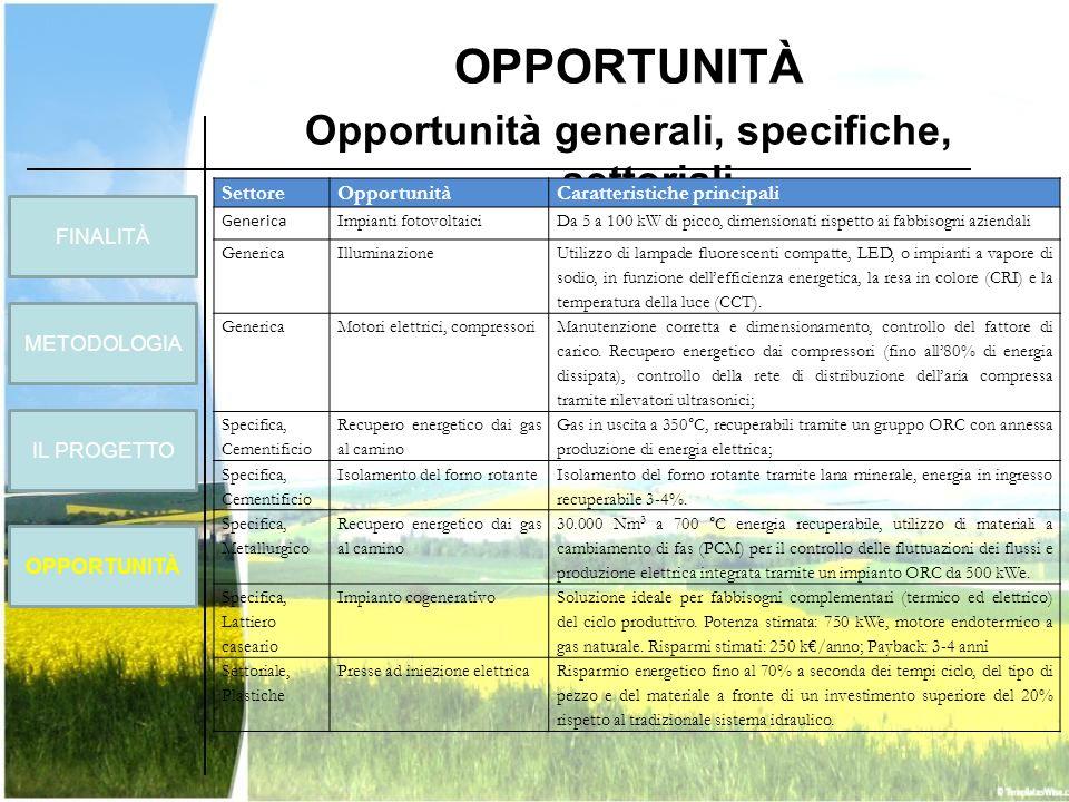 OPPORTUNITÀ Opportunità generali, specifiche, settoriali SettoreOpportunitàCaratteristiche principali Generica Impianti fotovoltaiciDa 5 a 100 kW di p