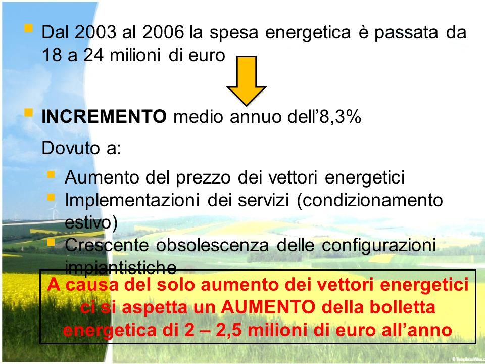 Tipologia di interventi individuati Potenziale di riduzione della spesa Portata dellintervento Esempi Basso – non compensativo Endogeno Illuminazione, inverter, isolamento, monitoraggio dei consumi energetici.