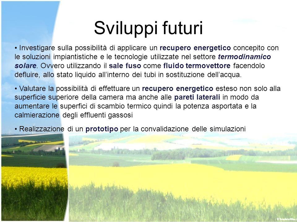 Sviluppi futuri Investigare sulla possibilità di applicare un recupero energetico concepito con le soluzioni impiantistiche e le tecnologie utilizzate