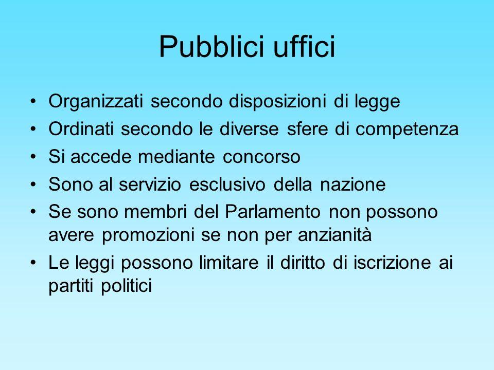 Pubblici uffici Organizzati secondo disposizioni di legge Ordinati secondo le diverse sfere di competenza Si accede mediante concorso Sono al servizio