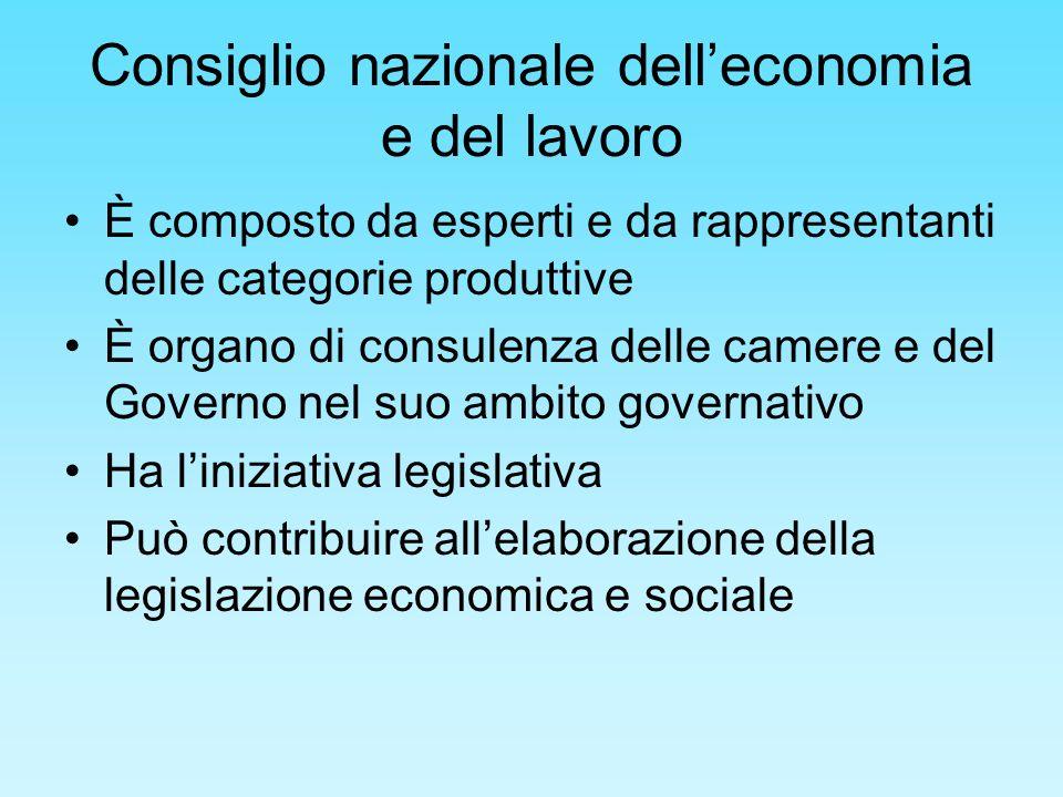 Consiglio nazionale delleconomia e del lavoro È composto da esperti e da rappresentanti delle categorie produttive È organo di consulenza delle camere