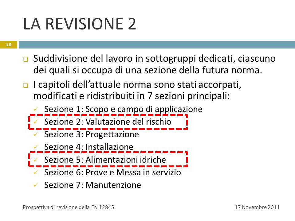 LA REVISIONE 2 Suddivisione del lavoro in sottogruppi dedicati, ciascuno dei quali si occupa di una sezione della futura norma. I capitoli dellattuale