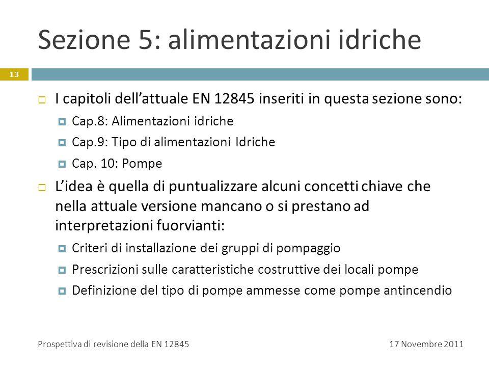 Sezione 5: alimentazioni idriche I capitoli dellattuale EN 12845 inseriti in questa sezione sono: Cap.8: Alimentazioni idriche Cap.9: Tipo di alimenta