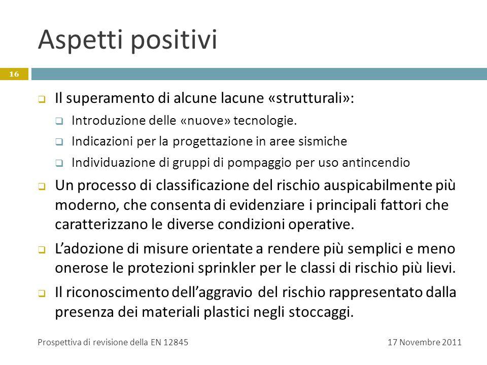 Aspetti positivi 17 Novembre 2011Prospettiva di revisione della EN 12845 16 Il superamento di alcune lacune «strutturali»: Introduzione delle «nuove»