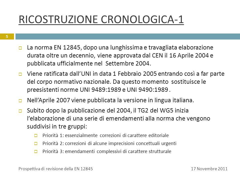 RICOSTRUZIONE CRONOLOGICA-2 I primi due emendamenti vengono introdotti simultaneamente nella norma con la procedura UAP intorno alla fine del 2008 e nel maggio del 2009 viene pubblicata la versione EN 12845:2004+A2, tradotta in italiano nel Luglio 2009.