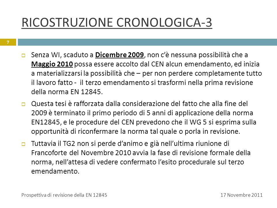 RICOSTRUZIONE CRONOLOGICA-3 Senza WI, scaduto a Dicembre 2009, non cè nessuna possibilità che a Maggio 2010 possa essere accolto dal CEN alcun emendam