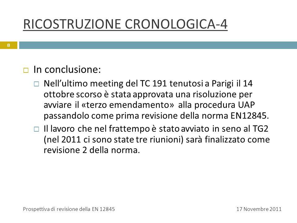 RICOSTRUZIONE CRONOLOGICA-4 In conclusione: Nellultimo meeting del TC 191 tenutosi a Parigi il 14 ottobre scorso è stata approvata una risoluzione per