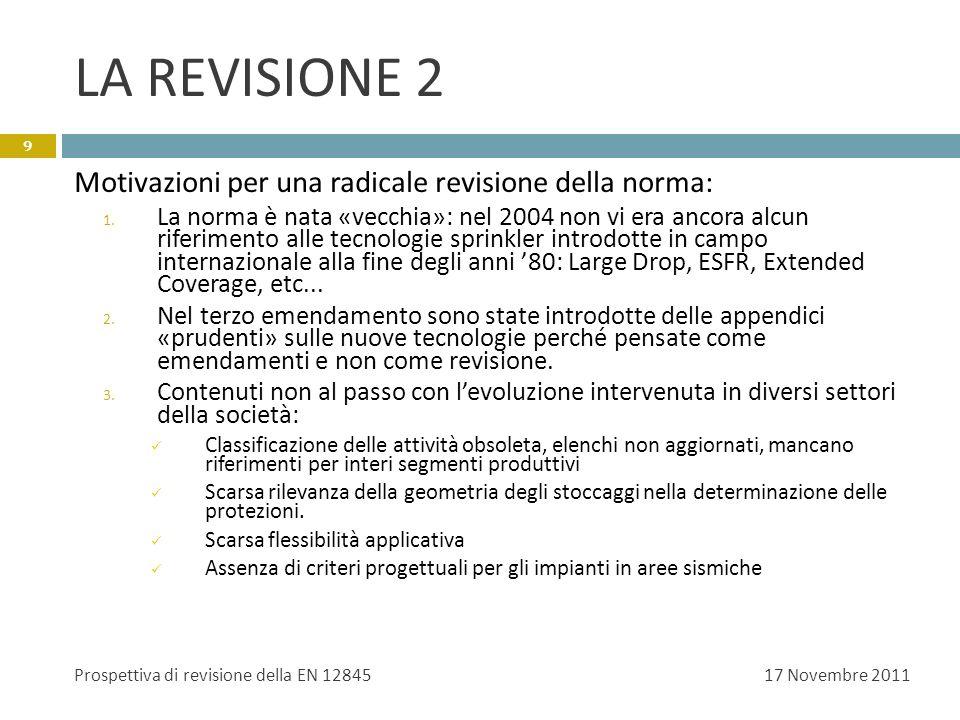 LA REVISIONE 2 Suddivisione del lavoro in sottogruppi dedicati, ciascuno dei quali si occupa di una sezione della futura norma.