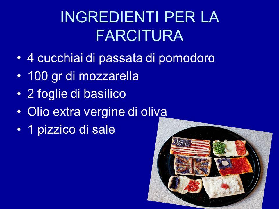 INGREDIENTI PER LA FARCITURA 4 cucchiai di passata di pomodoro 100 gr di mozzarella 2 foglie di basilico Olio extra vergine di oliva 1 pizzico di sale