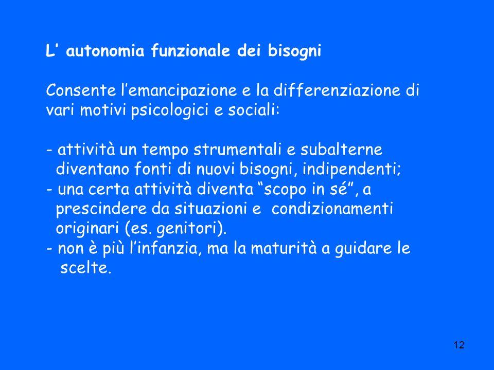 12 L autonomia funzionale dei bisogni Consente lemancipazione e la differenziazione di vari motivi psicologici e sociali: - attività un tempo strument