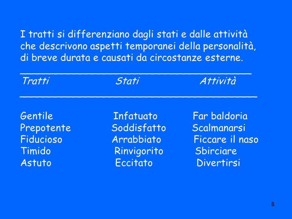 8 I tratti si differenziano dagli stati e dalle attività che descrivono aspetti temporanei della personalità, di breve durata e causati da circostanze