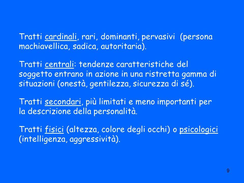 9 Tratti cardinali, rari, dominanti, pervasivi (persona machiavellica, sadica, autoritaria). Tratti centrali: tendenze caratteristiche del soggetto en
