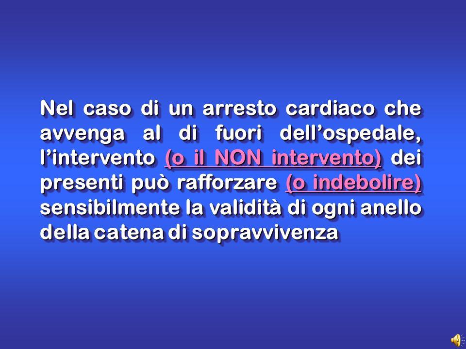 Nel caso di un arresto cardiaco che avvenga al di fuori dellospedale, lintervento (o il NON intervento) dei presenti può rafforzare (o indebolire) sensibilmente la validità di ogni anello della catena di sopravvivenza