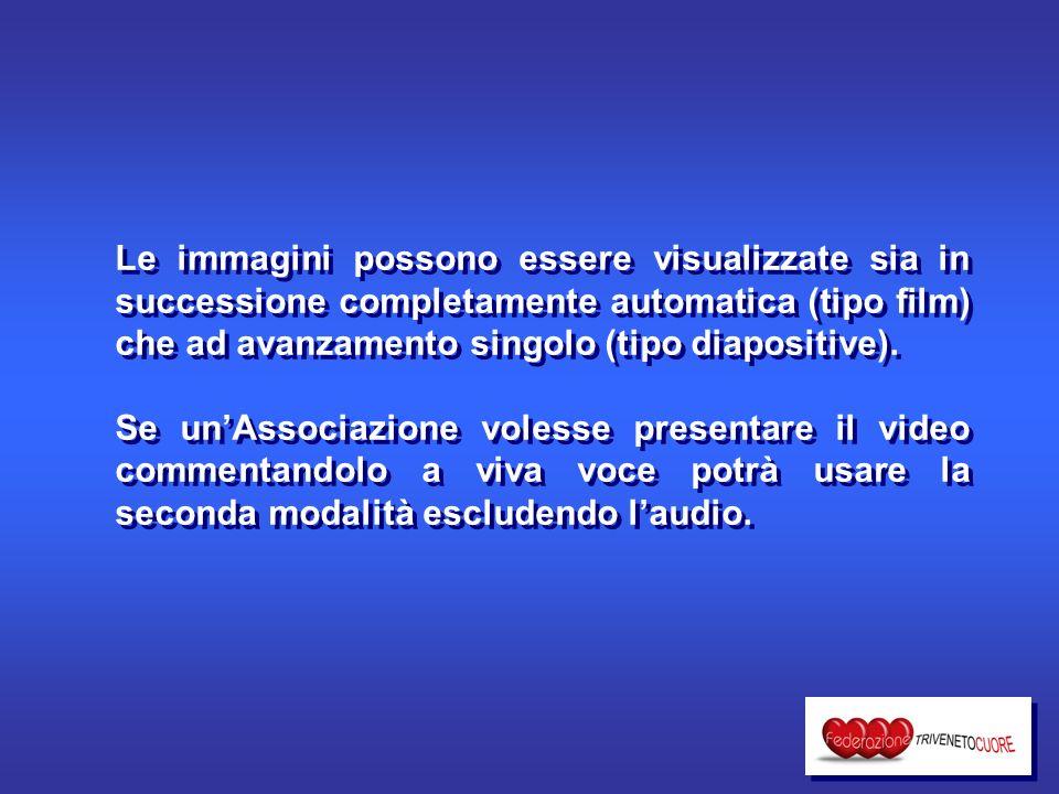 Le immagini possono essere visualizzate sia in successione completamente automatica (tipo film) che ad avanzamento singolo (tipo diapositive).